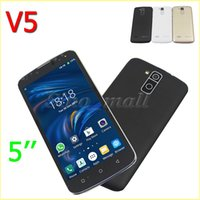 Cheap Newest 5 Inch V5 SC6820 Smartphone WIFI Bluetooth Android 4.4 H-Mobile Unlocked Phone 854*480 px Dual SIM Camera With Retail Box