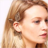 asian fashion trends - European style fashion trend leaves exaggerated earrings alloy ear clip ear hanging earring factory outlets y