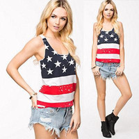 Cheap Fashion Women Summer Sexy Sleeveless Tops American USA Flag Print Stripes Tank Top for Woman Blouse Vest Shirt