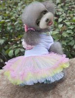 Dresses Spring/Summer Chirstmas Free shipping Pink Pet Lace Dresses Dog Cat puppy summer Clothes Tutu dress petticoat Cats Dogs Apparel pet costumes
