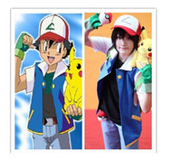 ash pokemon gloves - best selling new Poke Ash Ketchum Trainer Costume Cosplay Jacket gloves hat one pc set