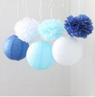 aqua paper lanterns - 9PCS Mixed Royal Blue Aqua Blue White Tissue Paper Pom Poms and Paper Lantern Wedding Party Hanging Decoration
