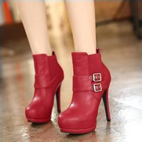 Cheap Nice Fashion Buckles Red Wedding Boots Sexy Thin Heel Shoes Ladies Ankle Boots Knight Boots Size 28 to 28