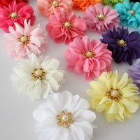 baby ballerina - 7cm Baby Girl hair flower Ballerina Flowers Chiffon Flowers Fabric Flowers For Headbands Hair Accessories