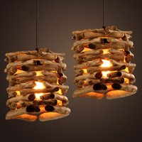 Wholesale Native Wood Handmade Berry Light Wooden Chandelier Hanging LED Pendant Lamp Ceiling Light Meteoric Shower Stair Light Chandelier Lighting
