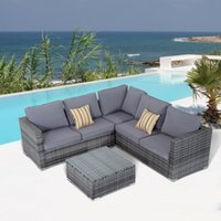 aluminium coffee table - Rattan Sofa Set PC Patio Cushioned Corner Sofa Coffee Table Outdoor Garden Furniture Aluminium Frame Wicker Outdoor Patio Garden Furniture