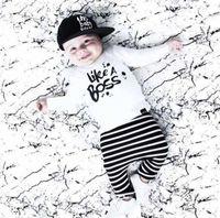 stripe pants - NWT New cute Baby Girls Boys Outfits Set Summer Spring Sets Boy Cotton Tops Shirts Harem Stripe Pants piece sets Like a Boss