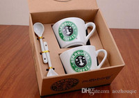 Wholesale Starbucks coffee cup set Starbucks cup Coffee mug Water bottle Cute couple office Ceramics cup With spoon one set