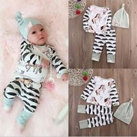 baby clothes horse - 2016 Autumn Ins Infant Baby Sets Kids Cartoon Horses Long Sleeve Tops Tshirt Pants Cap Girls Boys Clothing Suit Children Outfits