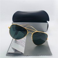 Wholesale Cool Men Sunglasses Glass Lens Sun glasses High Quality Pilot Vintage aviators Mirror Protect With Case Box Tag