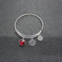 Wholesale New Birthstone Crystal Rhinestone Tree of Life Pendant Alex and Ani Charm Wiring Bracelet Expandable Bangles for Women