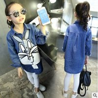 best new jeans - Big Girls Cartoon Rabbit Printing Long Sleeves Fashion Jeans Shirts Best Sale Korean Style Kids Jeans Lovely Shirts Children New shirts