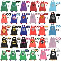 Wholesale Double side kids Superhero Capes and masks Batman Spiderman Ninja Turtles Flash Supergirl Batgirl Robin for kids capes with mask cm