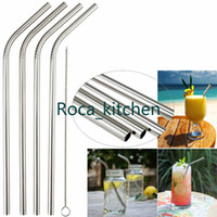 Wholesale 4 Stainless Steel Drinking Straws Extra Large for Shakes and Smoothies Reusable sipping Straws Cleaner Brush New