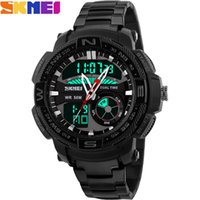 band swim - 2016 New SKMEI popular Brand Men Military Sports Watches dual time Digital analog LED quartz swim Wristwatches black steel band