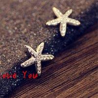 costume fashion jewelry - Women Small Earrings Fashion Crystal Stud Earrings Korean Starfish Shape Earrings for Girl s Costume Jewelry Accessories