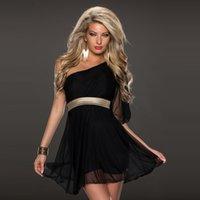 Wholesale Europe new black gauze dress dress style shoulder party irregular waist design