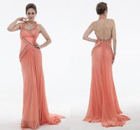 apple france - Sexy Back Orange Prom Dresses Beads Sheath Top France Chiffon Sleeveless prom Party Dress Celebrity Gowns Halter New Evening Gowns