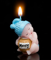Wholesale 2016 hot sale Birthday candles cute sleeping baby blue honey jar candles