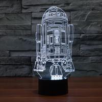Wholesale Genuine Star Wars Battleship LED Light Night Light D Colour Desk Light Acrylic Touch W V USB Plug Retail Package