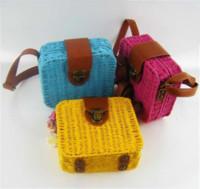 Cross Body Women Plain Fashion Knitting Box Trunk Mini Bags Hawaii Rushwork Beach Handbag Crossbody Messenger Hobo Organizer Women Shoulder Straw Bag