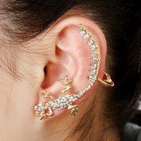 Wholesale 2016 Hot Selling Left Ear Cuff Clip Clamp Earrings Hyperbole Geocko Shape Silver and Gold Earring Women Jewelry CA57