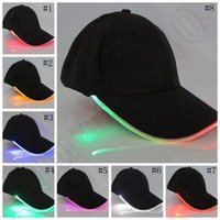 Wholesale LED Lighted Hat Black Cotton Baseball Golf Fabric Hip hop Sports Halloween Luminous Cap colors LJJO888