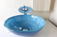 Wholesale Glass Basin Vanity Pastoral style vanity above counter sink tempered glass basin Wash Basin Glass Bowl N
