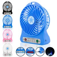 Wholesale Mini Protable Fan Multifunctional USB Rechargerable Kids Table Fan LED Light Battery Adjustable Speed Snow cool Multi Color With Box