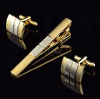 Wholesale Stainless Steel Shell Cufflinks and Tie Clip Clasp Bar Set For Men Gift French Shirt
