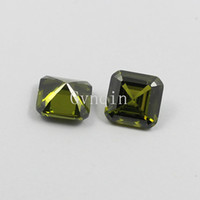 asscher cut stones - 8x8mm AAA cubic zirconia peridot asscher cut loose gem stones