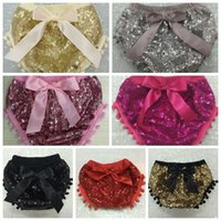 Wholesale Baby Sequins Pants Glitter PP Pants Shorts Kids Briefs Summer Bread Pants Bow Bloomers Underpants Bowties Panties Baby Diaper Cover B480