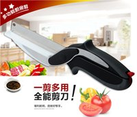 Wholesale 2016 Trendy Clever Cutter in Knife Cutting Board Scissors Steel Kitchen Food Cutter for Meat Vegetable PX H01