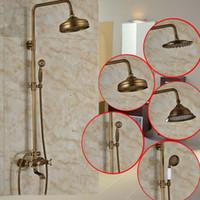 antique brass tub spout - Modern model Bathroom Surface Mount Brass Rainfall Shower Faucet Set Antique Brass with Handshower Tub Spout