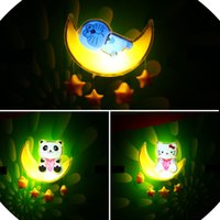 baby panda photo - 2016 hot Moon night light led hello kitty doraemon panda intelligent photo sensor switchable induction wall lamp plug bedside baby children