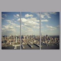 aerial pictures - Big size Aerial view Modern city Manhattan set decoration wall art pictures landscape Canvas Painting living room unframed