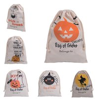 bag or sack - 2016 Halloween Treat Bags Candy Gift Sack Treat or Trick Pumpkin Bat Witch Canvas Bag Children Party Festival Drawstring Bag Gift Bag