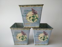 antique planter boxes - Europe garden bucket tin box Iron pots flower Metal Planter Antique vintage white butterfly and flower design bonsai pot