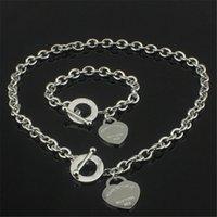 achat en gros de bracelets bijoux uniques-Cadeau de Noël 925 Collier d'amour en argent + Ensemble de bracelets Édition de mariage Éléments de bijoux Colliers uniques en forme de pendentif Collier de bracelets 2 en 1