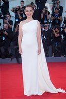 Wholesale 2016 Natalie Portman Celebrity Dresses Simple Sleeveless One Shoulder Chiffon Column skirt floor Length Celebrity Dresses