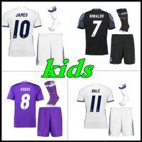 Wholesale 2016 Real Madrid Kids home Away jerseys Real Madrid RONALDO BENZEMA JAMES BALE shirt