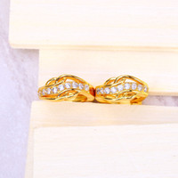 Wholesale 2016 mm Brand Charm Women s White New Golden Earrings Gold plated Crystal Shape Fashion Jewelry Hot Sale Classic Accessories