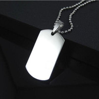 Wholesale New Blank Engravable Stainless Steel Cat Dog Tag Military Shape Men Pendant for boys hot sale