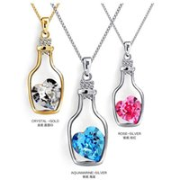Wholesale Love drift bottles clavicle chain peach heart shaped pendant necklace Wishing bottle Bottle pendant necklace inlaid crystal bottle Multicol