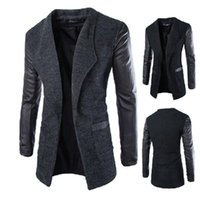 Wholesale Long Leather PU Sleeve Men Coats Blend woolen Winter Autumn Slim Fit Mens Trench Outerwear Casual Jackets