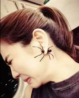 Wholesale 1Pair D Creepy Black Spider Ear Stud Earrings Hot Selling Unique Punk Earrings for Women EX076