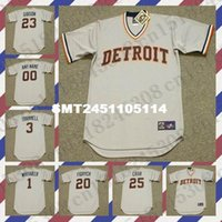 Wholesale Retro NORM CASH KIRK GIBSON LOU WHITAKER Baseball jersey ALAN TRAMMELL MARK FIDRYCH jersey Throwback Gray Mens Stitched jerseys
