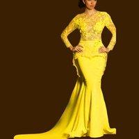 al por mayor vestido de gasa de la manga larga de color amarillo-Nuevo 2015 de la manga larga de encaje de vestidos de baile O cuello piso-longitud gasa amarilla de la sirena Prom Vestidos Nueva llegada del envío libre