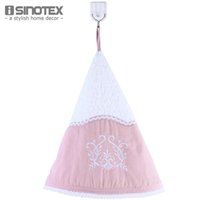 bathroom border - Cotton Kitchen Towel Washcloth Kitchen cm Round Embroidery Lace Border Warp Knitted Bathroom Hanging Loop
