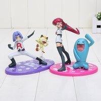 Cheap Japanese Anime Poke Figures GEM Team Rocket James Meowth   Jesse Wobbuffet 6.5-13cm PVC Action Figure Model Toys